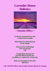 Autumn Offers. Ring or visit for more details and to book. You can also contact me through my Facebook page and Twitter