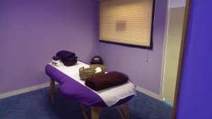 The screened off treatment area for a very relaxing experience
